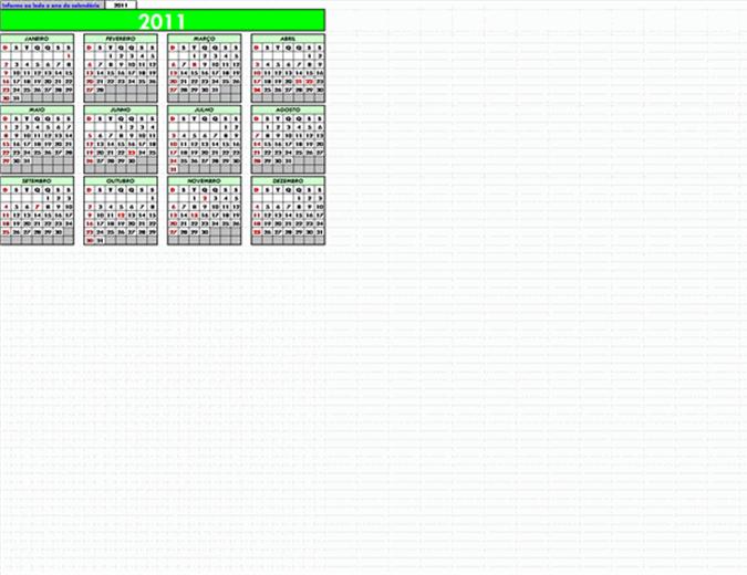 calendário com feriados