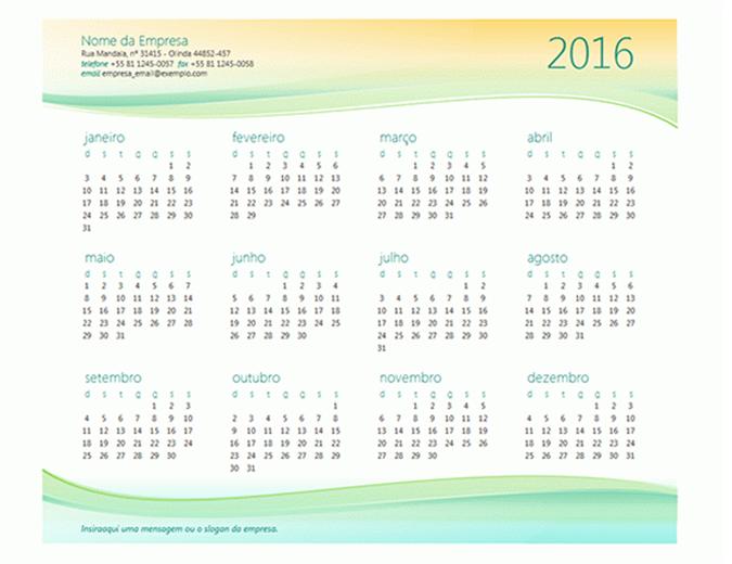 Calendário para pequenas empresas (qualquer ano)