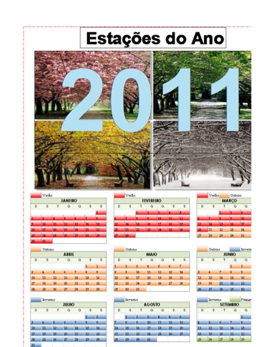 Calendário Estações do Ano