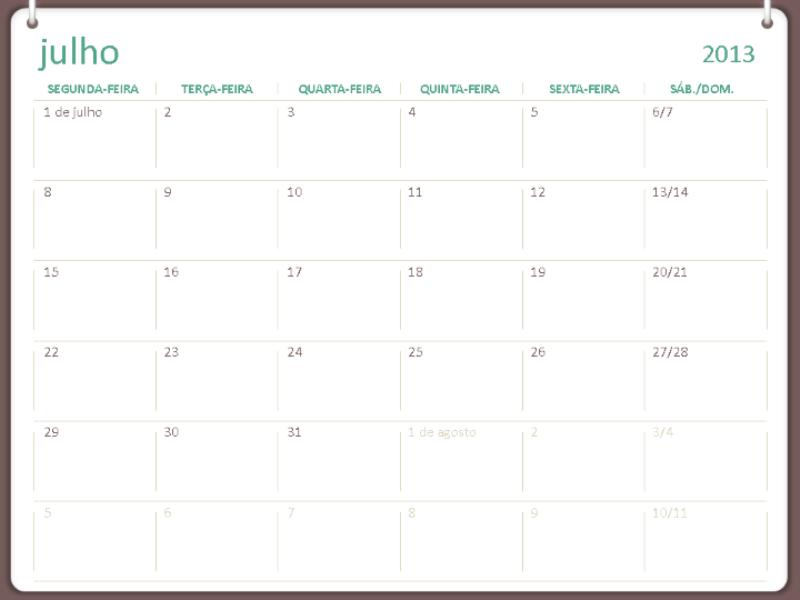 Calendário acadêmico de 2013-2014 (julho)