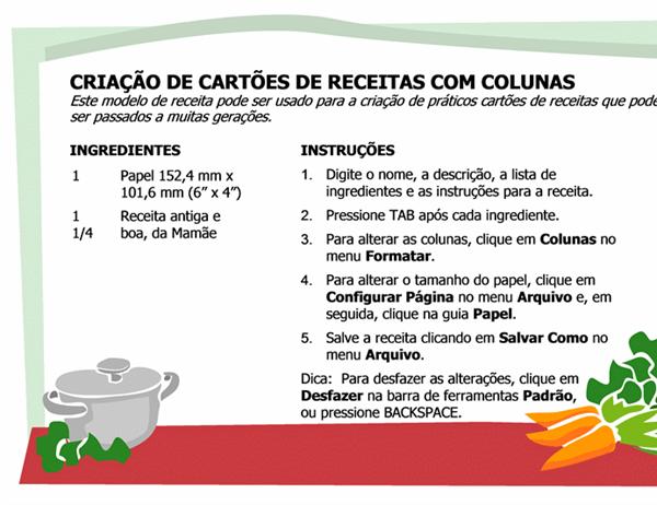 Ficha de receita (múltiplas colunas)
