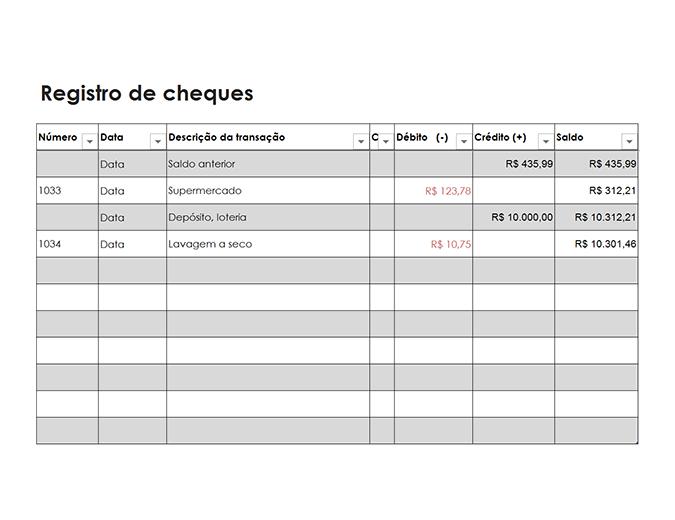 Registro de cheques (simples)