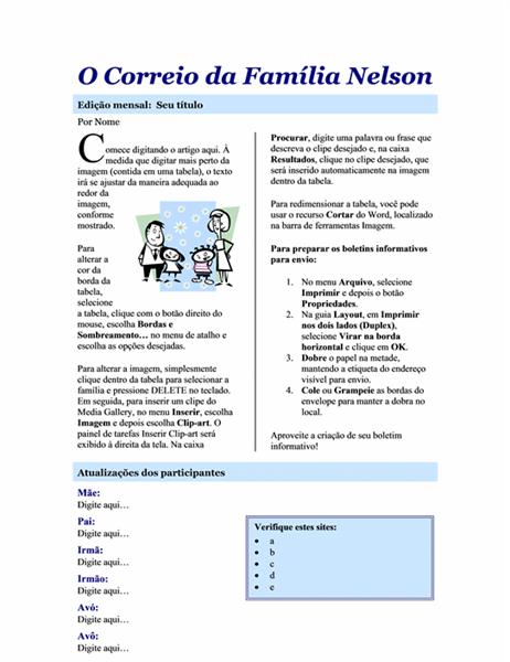 Boletim informativo da família (2 págs.)