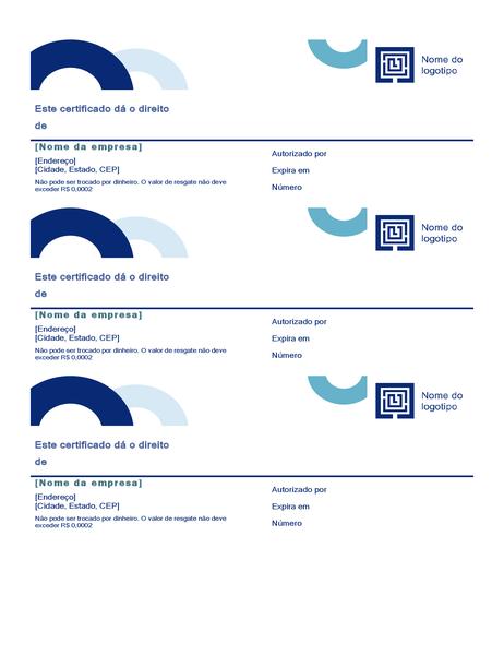 Cartões-presente (design de arco, 3 por página)