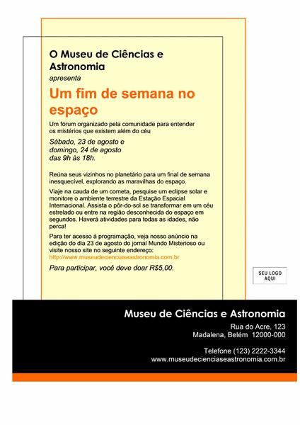Panfleto de evento (21x28, apenas um lado)