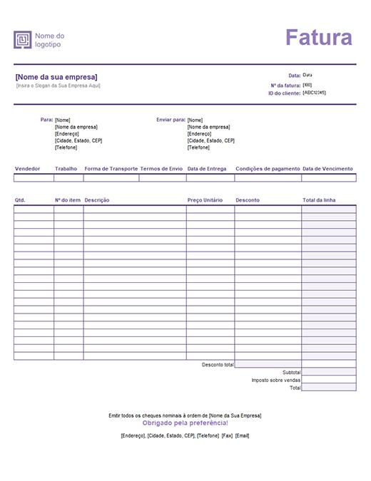 Fatura de vendas (design de Linhas Simples)