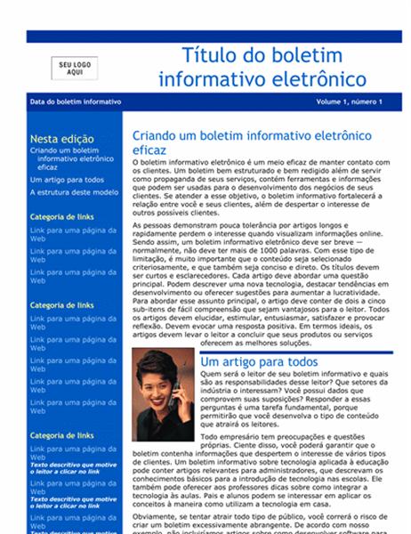 Boletim informativo eletrônico comercial (2 col., assimétrico, s/hiperlinks)
