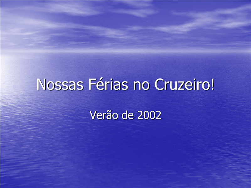 Apresentação de slides Cruzeiro de férias