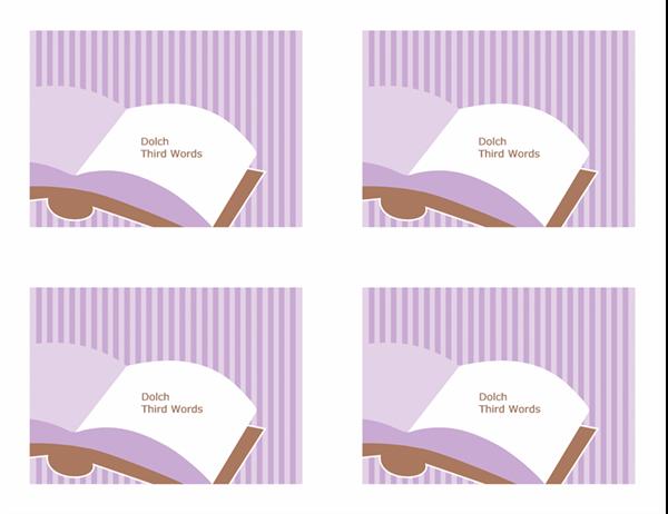 Cartões rápidos de vocabulário (terceiras palavras de Dolch; verso; funciona com o Avery 3263, 8387)