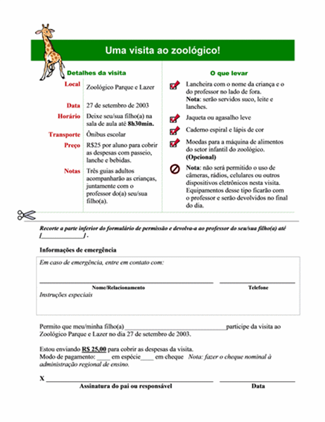 Modelo de autorização para passeio