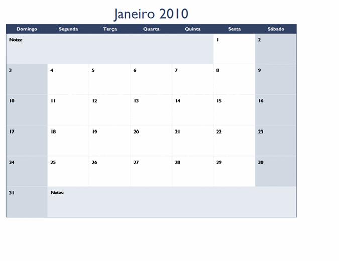 Calendário de 2010 em várias planilhas (12 págs., Seg-Dom)