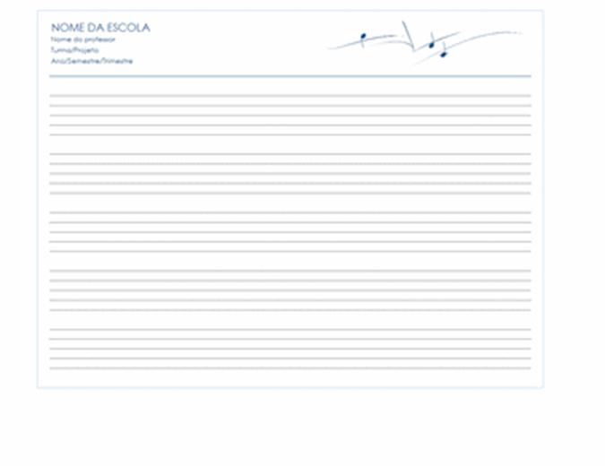 Imprimir papel de partitura (paisagem, 5/pág.)