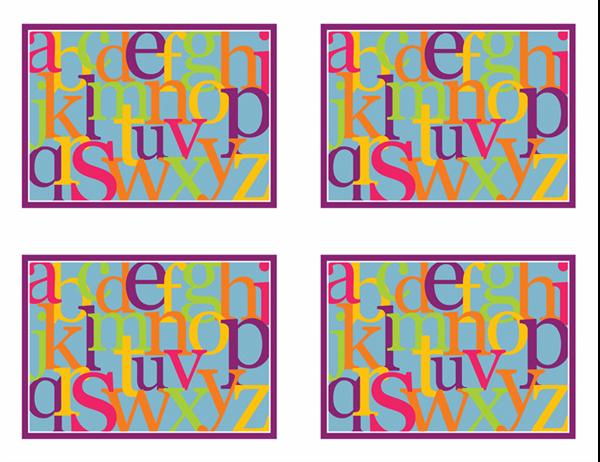 Cartões rápidos com letras do alfabeto (verso; funciona com o Avery 3263, 8387)