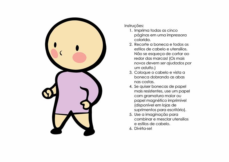 Bonecas de papel (menina, conjunto de 3)