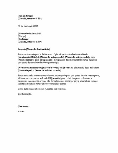 Pedido de cópia não-registrada de certidão de nascimento ou de óbito