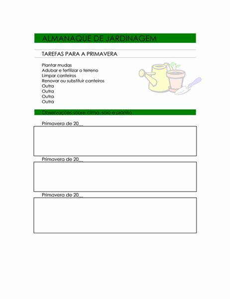 Almanaque de jardinagem para todas as estações