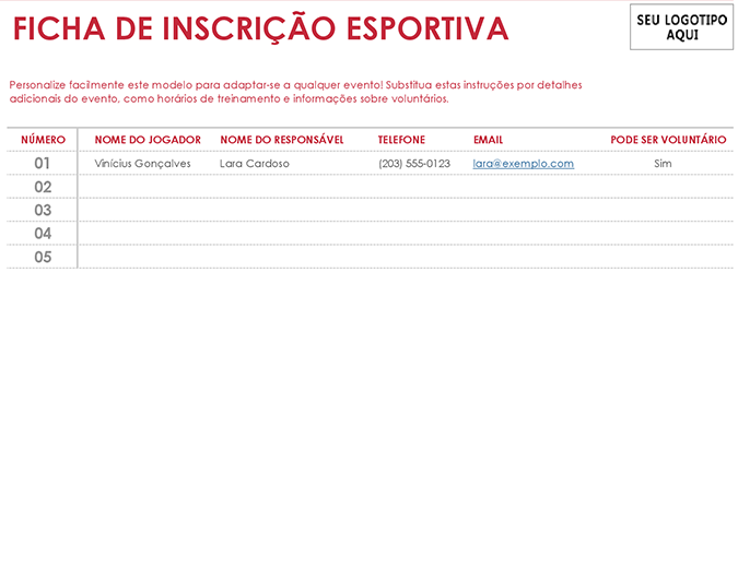 Ficha de inscrição esportiva