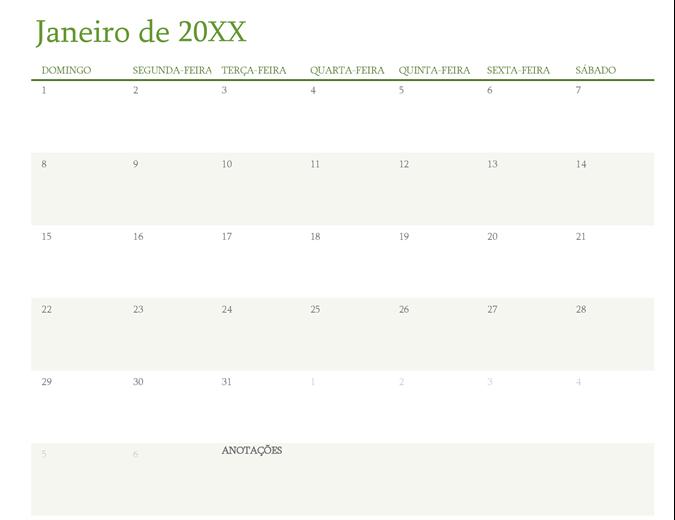 Calendário anual (um mês por guia)