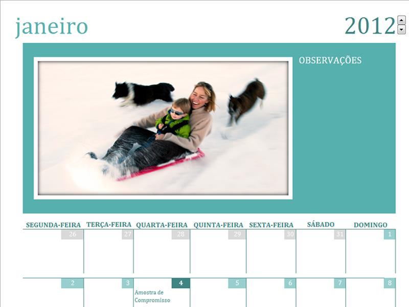 Calendário de fotos da família (mês)