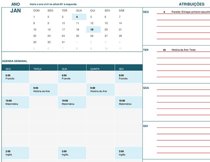 Calendário do aluno (segunda-feira)