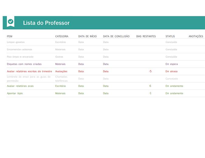 Lista de tarefas do professor