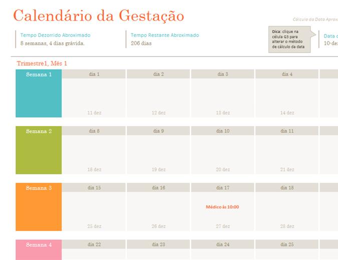 Calendário da gestação