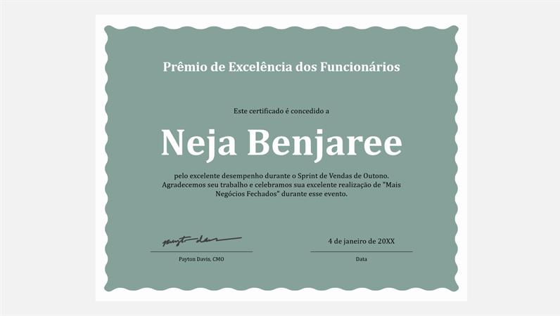 Certificado de excelência de funcionários