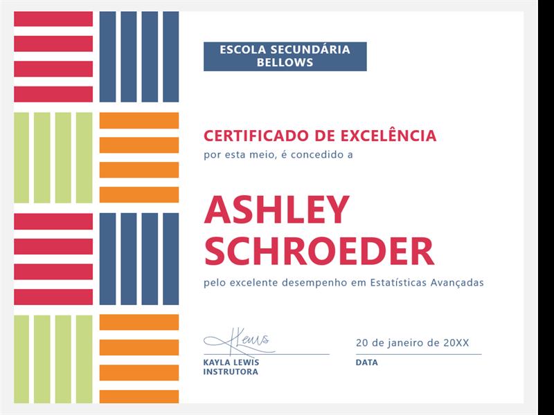 Certificado de excelência do aluno