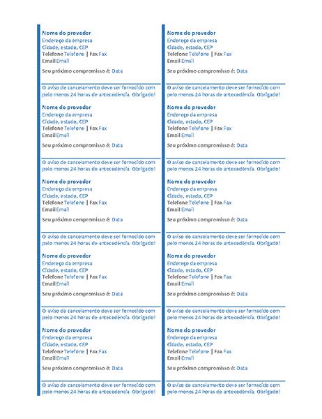 Cartões de compromisso (10 por página)