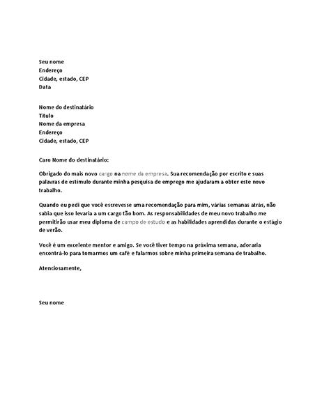 Carta de agradecimento por referência de trabalho bem-sucedida do chefe anterior