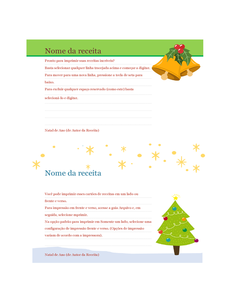 Cartões de receita (design Espírito de Natal, 2 por página, é compatível com o formato Avery 5889)