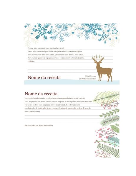 Cartões de receita (design Espírito de Natal, é compatível com o formato Avery 5889, 2 por página)