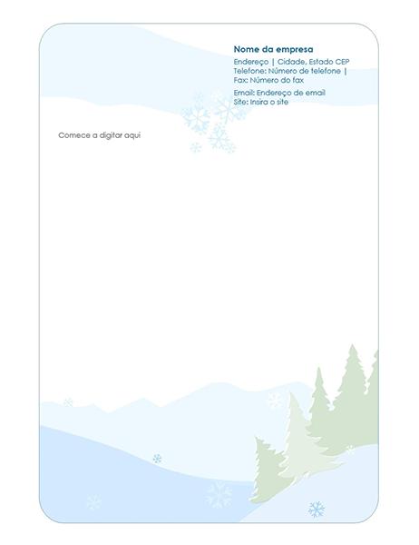 Papel de carta timbrado de inverno