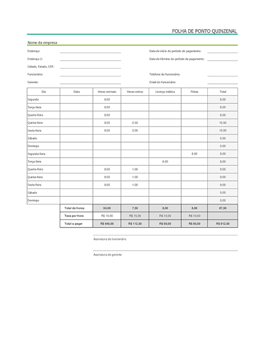 Folha de ponto quinzenal com licença médica e férias (com dados de exemplo)