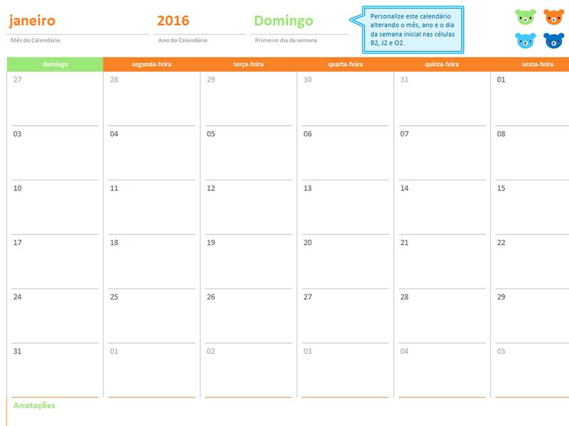Calendário mensal para qualquer ano (12 páginas, design Ursos do Arco-Íris)