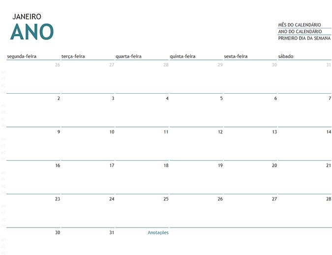 Calendário mensal de qualquer ano com anotações