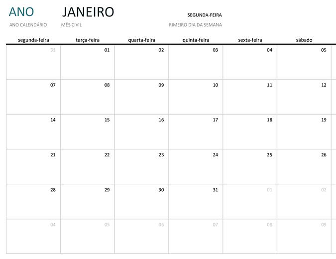 Calendário mensal de qualquer ano