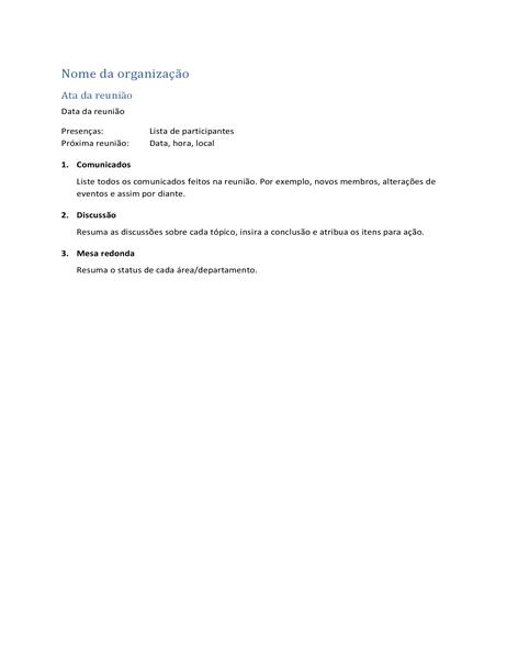 Atas de reunião (formulário curto)