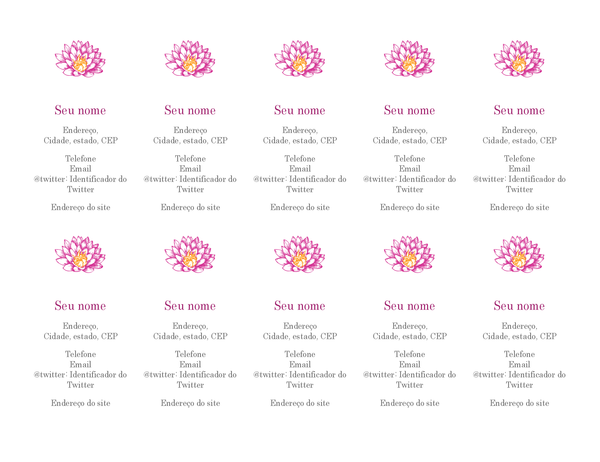 Cartões de visita pessoais com motivos florais (vertical)