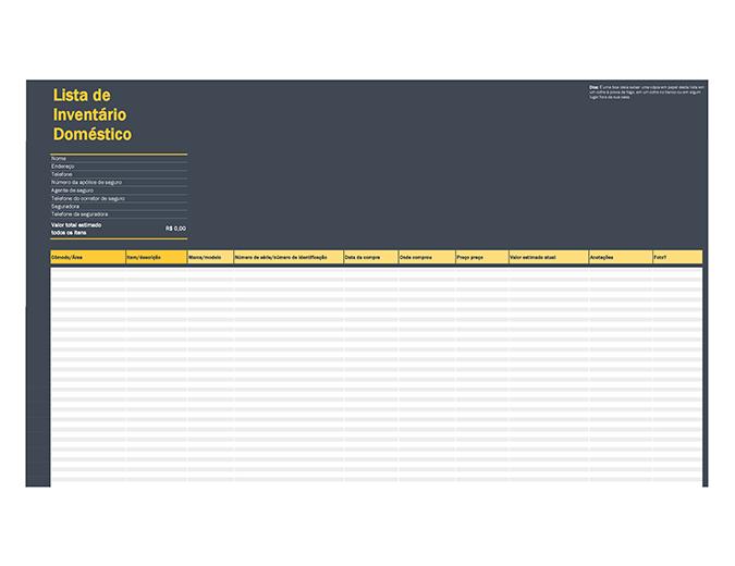 Lista de inventário de conteúdo doméstico