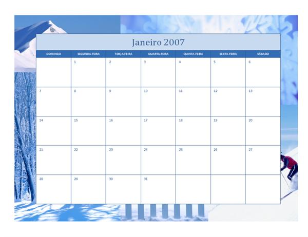 Calendário de 2007 (12 págs., design Sazonal)