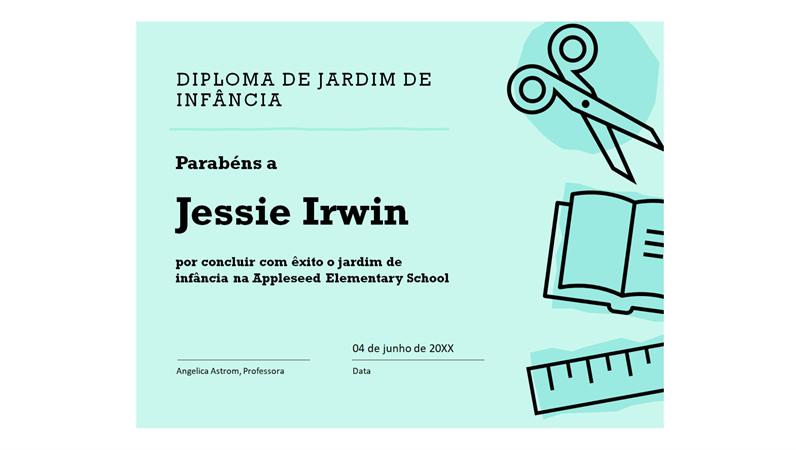 Certificado de diploma de jardim de infância