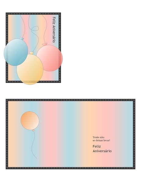 Cartão de aniversário (com balões em cor pastel, dobra em quatro)