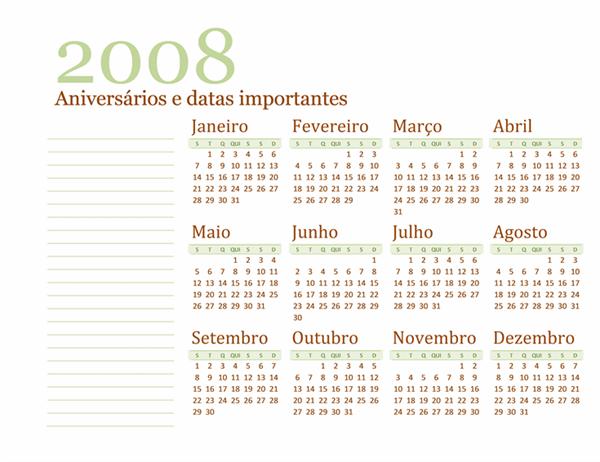 Calendário de datas de nascimento e aniversários 2008 (Seg-Dom)