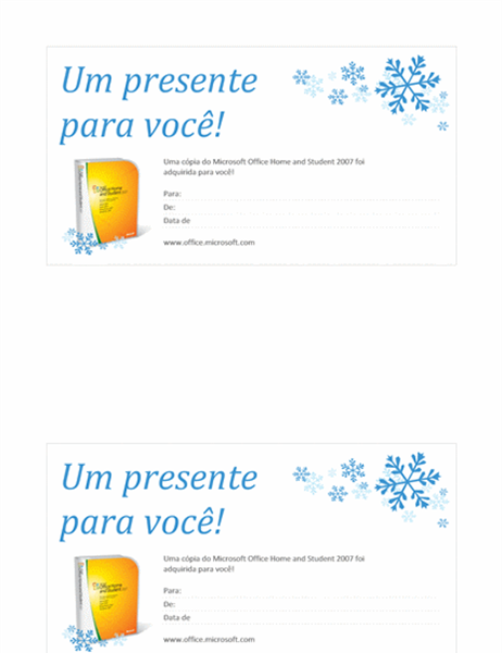 Vale-presente do Microsoft Office Home and Student 2007