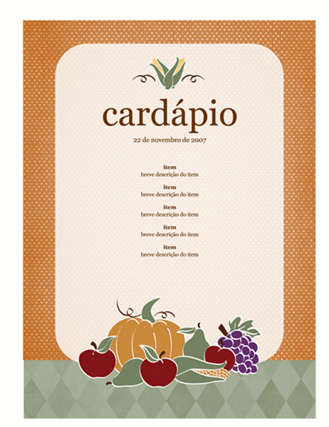 Cardápio (design colheita)