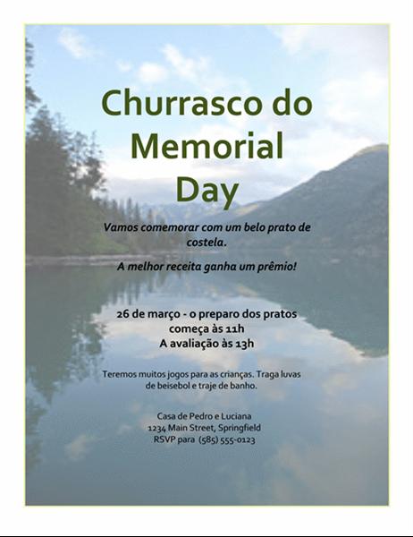 Folheto de Churrasco de Memorial Day