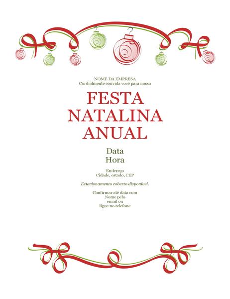 Panfleto para festa de Natal com ornamentos e fita decorativa vermelha (design formal)