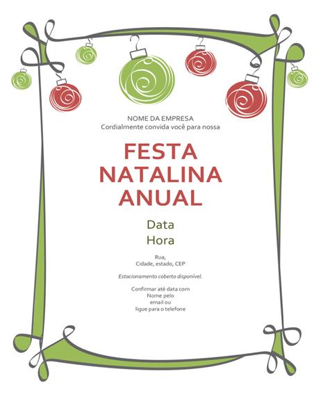 Convite para festa de Natal com enfeites e borda em espiral (design informal)