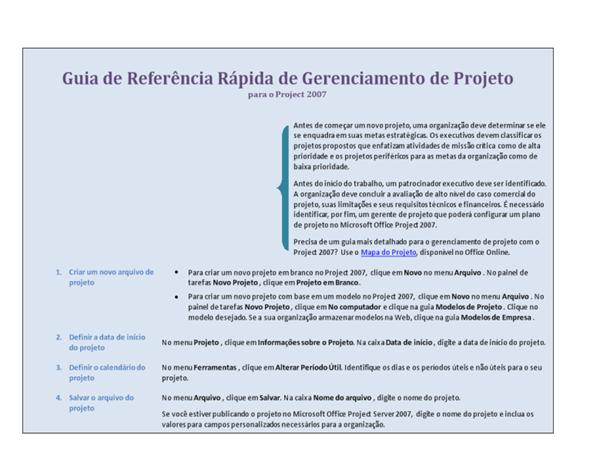 Guia de referência rápida de gerenciamento de projeto para o Project 2007